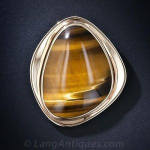 Tiger's Eye Brooch, Mid-Century.