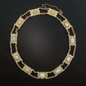 Mid-Century Opal and Rose-Cut Diamond Necklace Composed of Scalloped Plaques Connected by Oval Links.