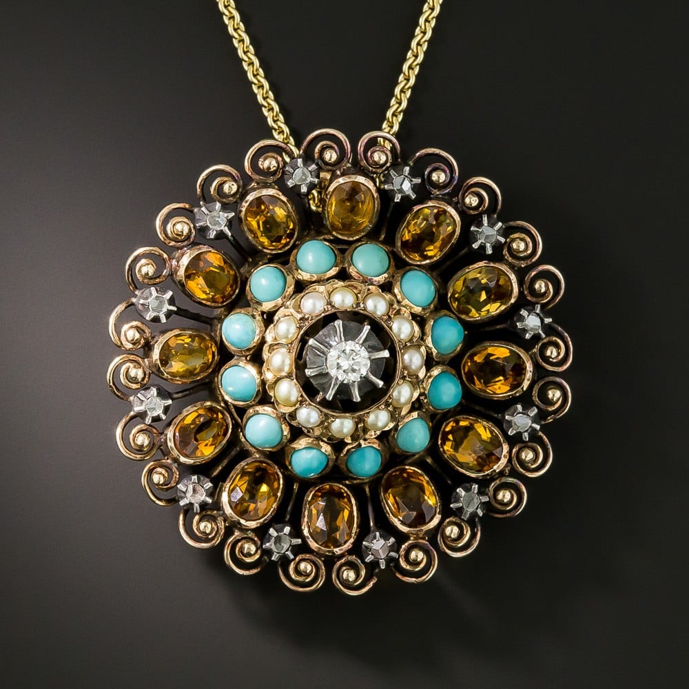 Mid-Century Turquoise, Pearl, Citrine, and Diamond Brooch with Scrollwork Border.