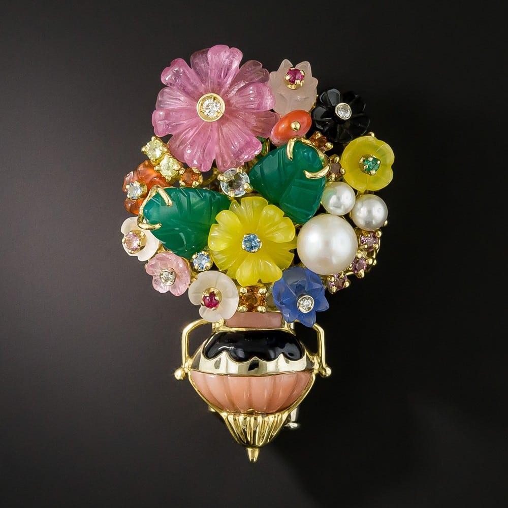 Multi-Gemstone Flower Basket Pendant/Brooch, by Gioielli Stanagostino.