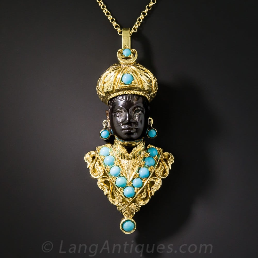 Nardi Turquoise and Gold Blackamoor Pendant/Brooch.