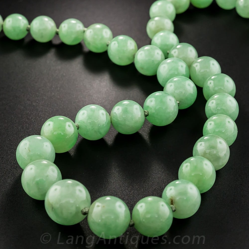 Jadeite Bead Necklace Strung and Knotted on Silk Thread.