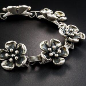 Danish Sterling Silver Flower Bracelet.