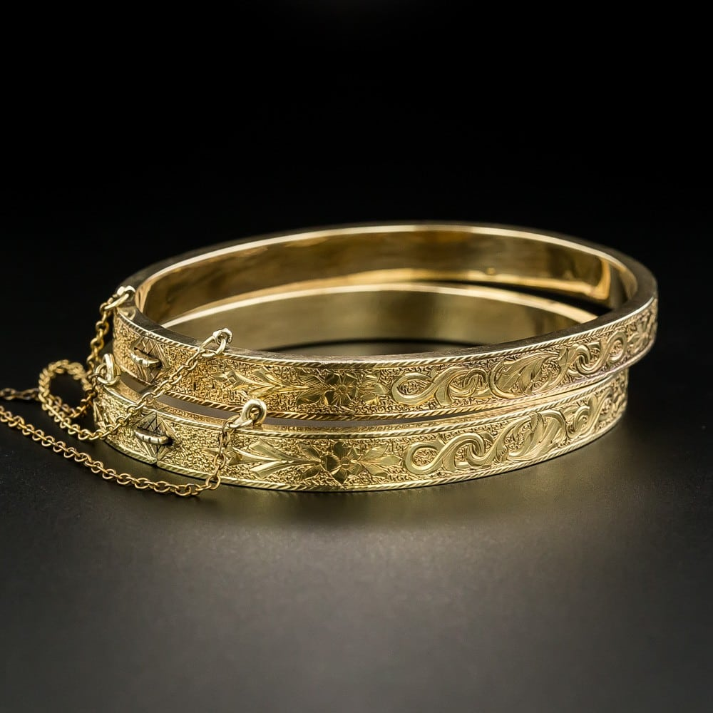 Pair of Engraved Victorian Bangle Bracelets.