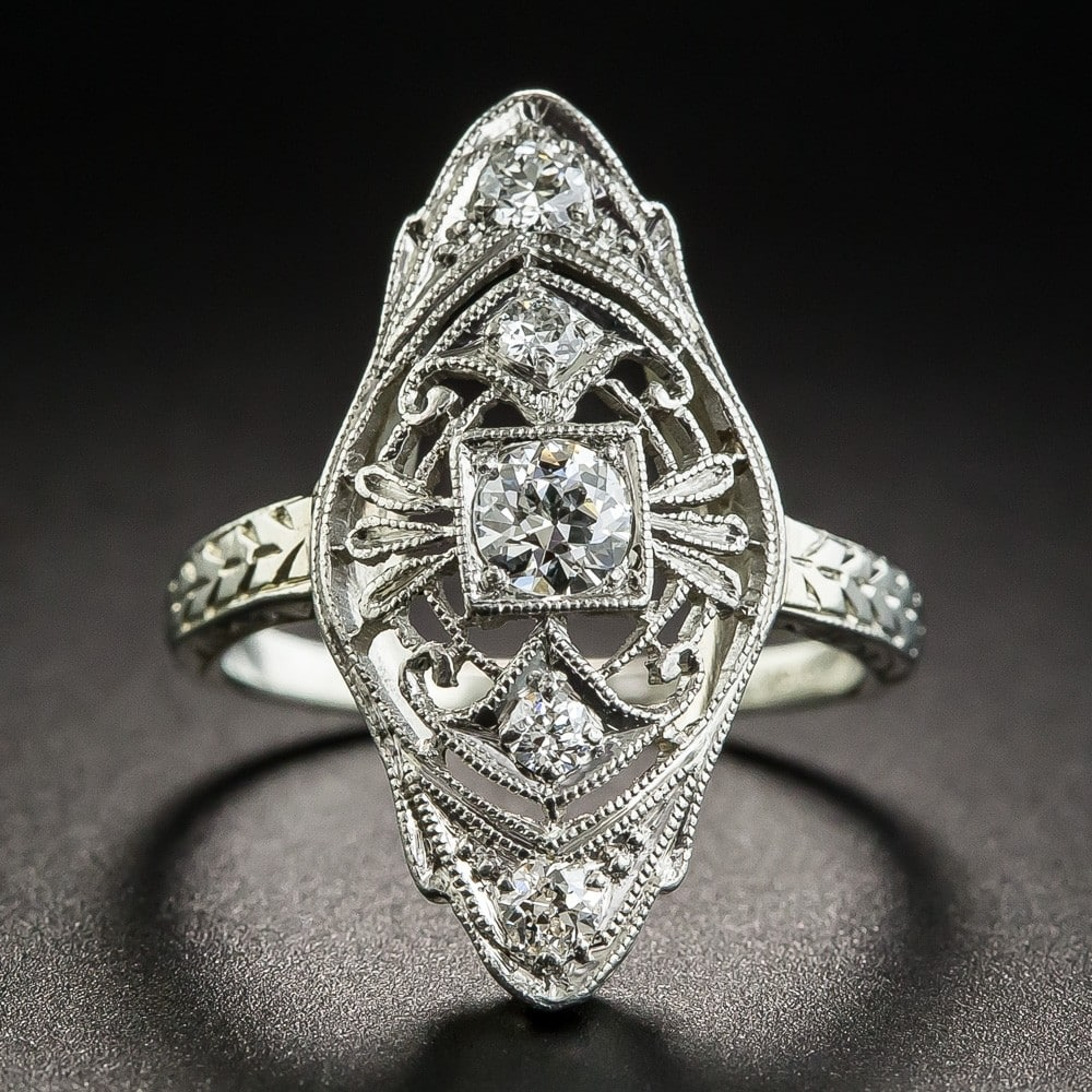 Belais Diamond Dinner Ring in 18k White Gold and Platinum.