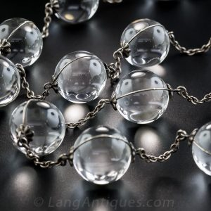 Transparent Rock Crystal Quartz Bead Necklace.