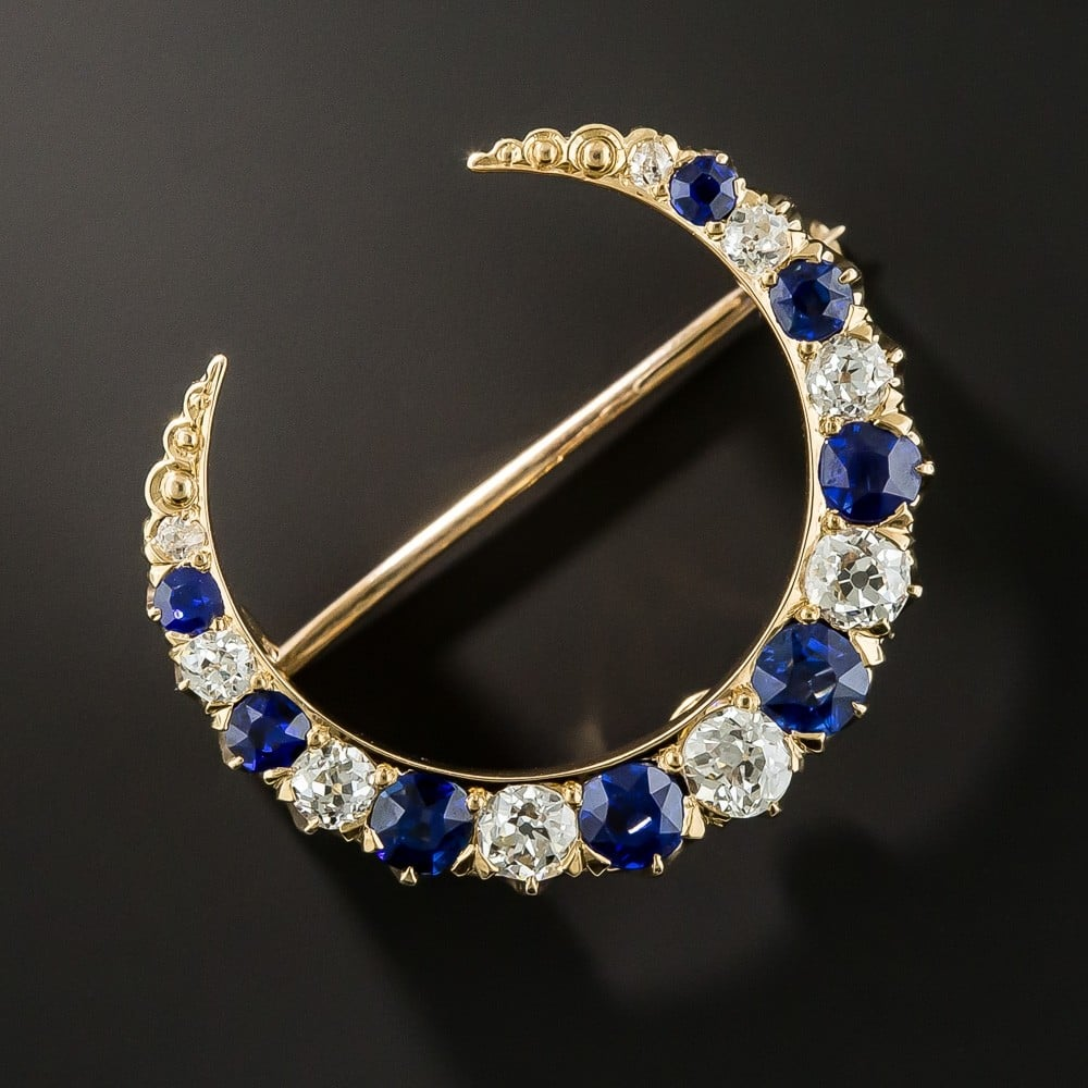 Sapphire and Diamond Crescent Brooch, by Bailey, Banks & Biddle.