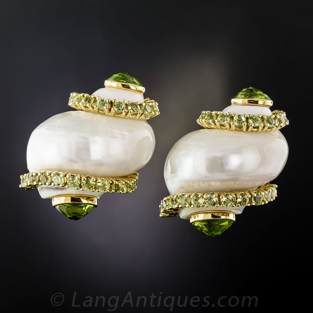 Seaman Schepps Turbo Shell and Peridot Earrings.