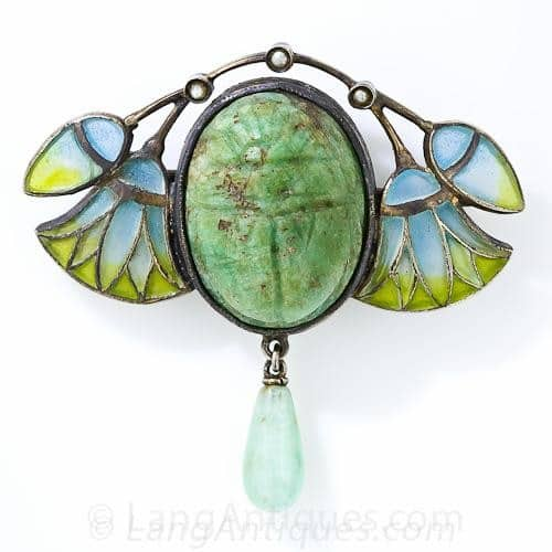 Egyptian Revival Scarab and Papyrus Design Plique-a-Jour Brooch.