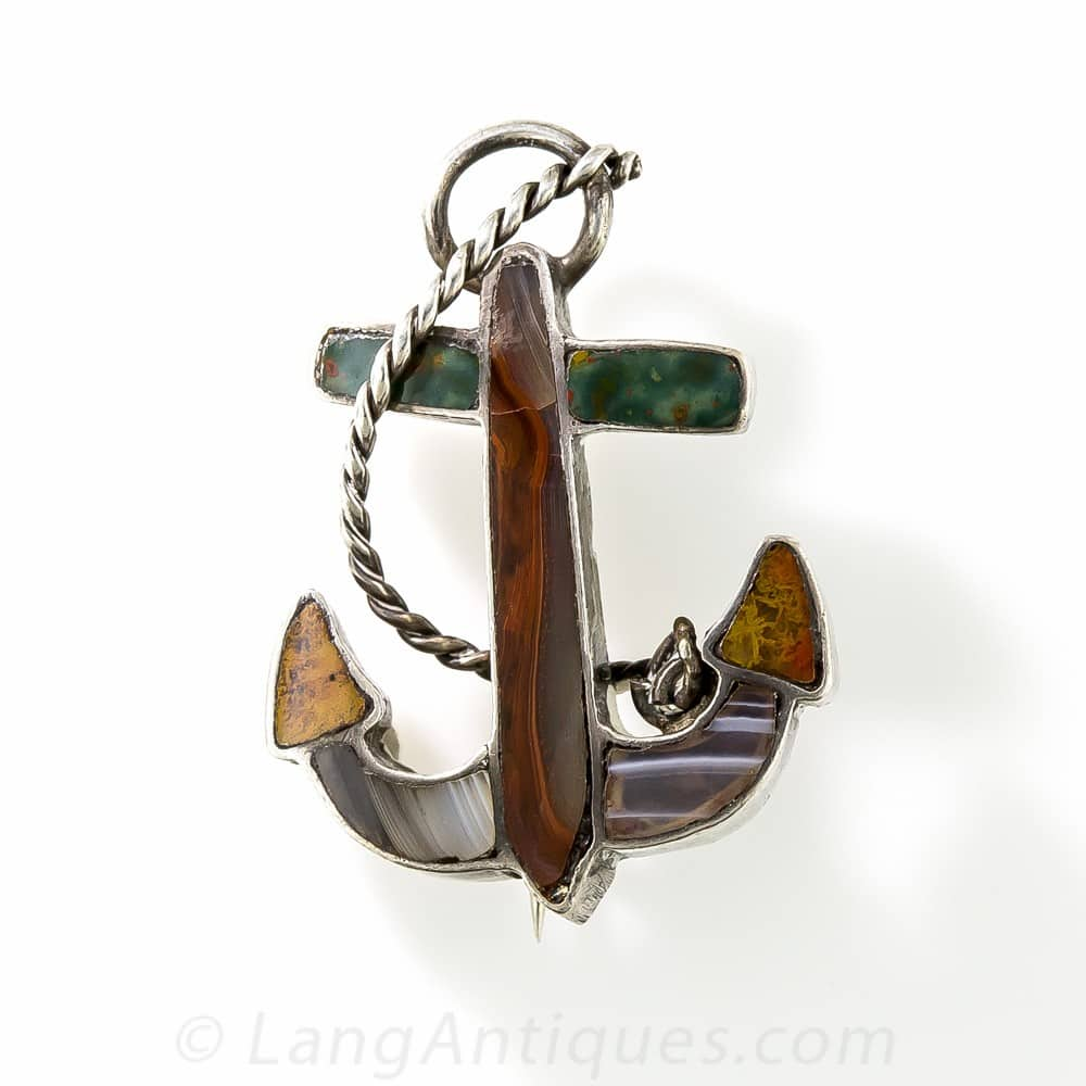 Scottish Agate Anchor Pebble Brooch.