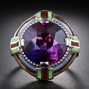 Synthetic Alexandrite-Like Sapphire and Enamel Art Deco Ring.
