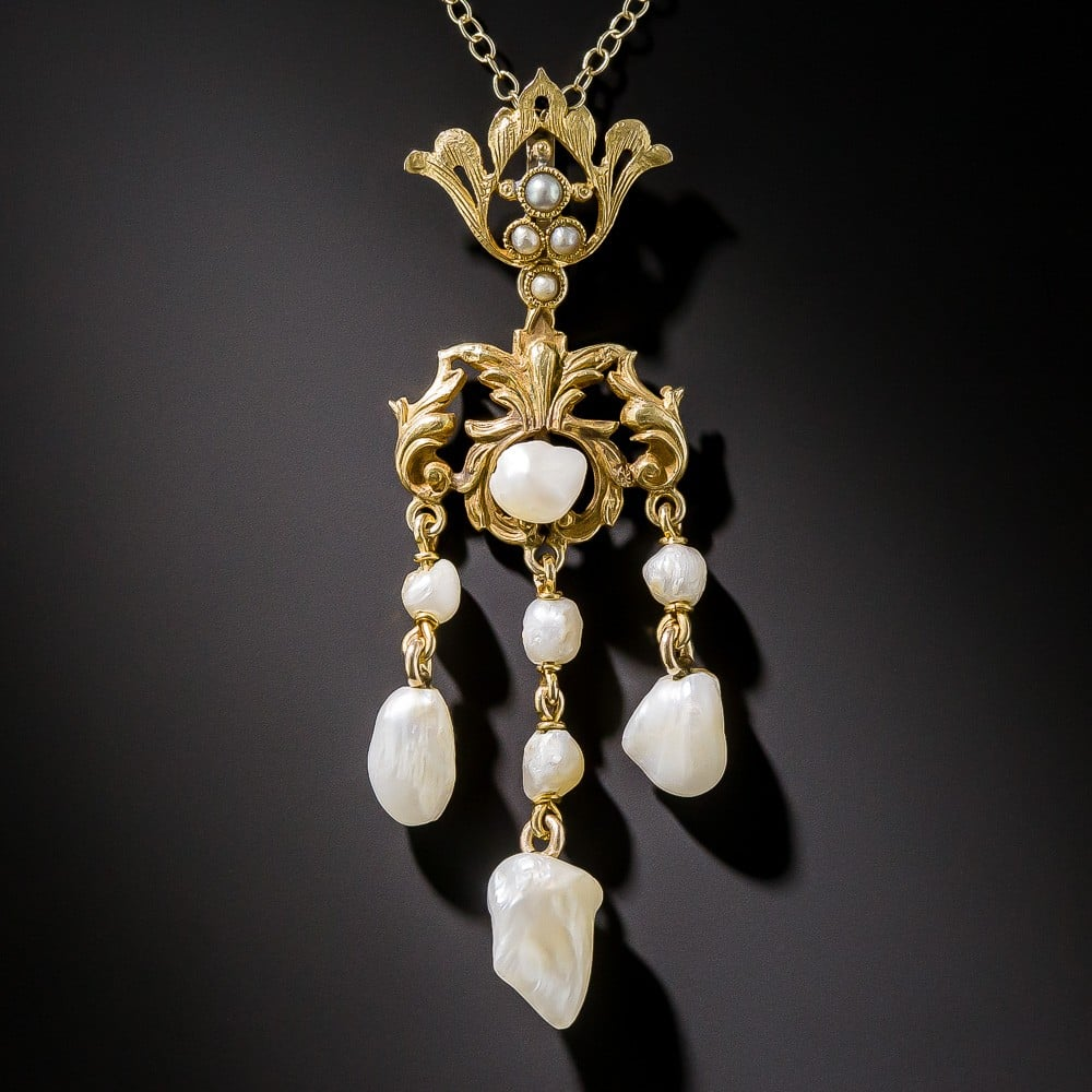 Freshwater Pearl Pendant with Elaborate Bail, c.1900.