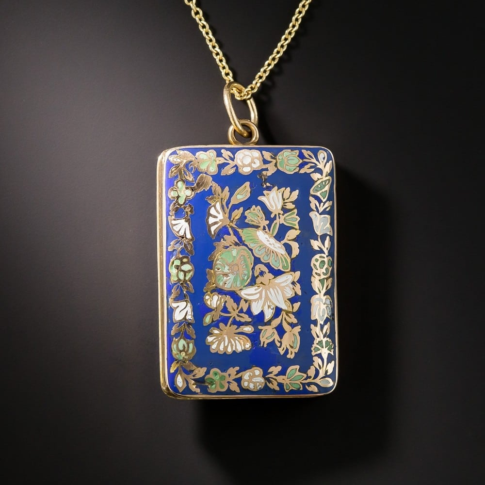 Victorian Enamel Vinaigrette Pendant Necklace.