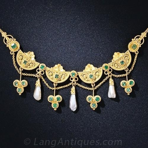 Etruscan Revival Emerald and Pearl Necklace with Trefoil Motifs.