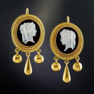 Etruscan Revival Cameo Silhouette Hardstone Earrings.