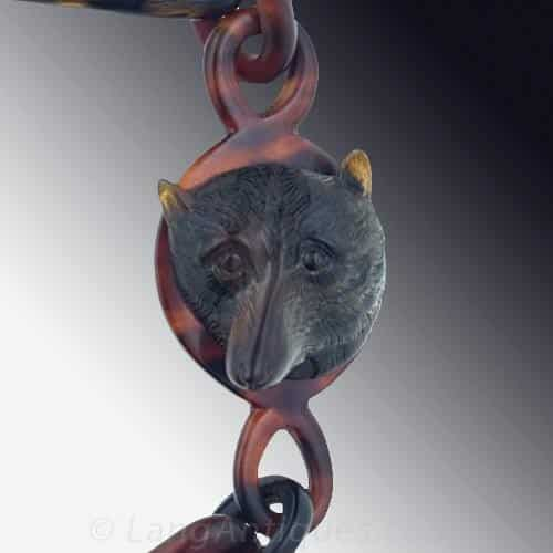 Victorian Tortoiseshell Watch Chain with Carved Fox.