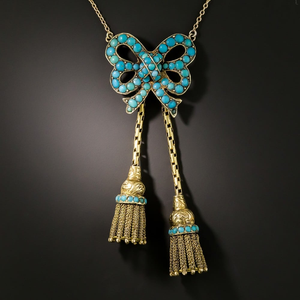 Victorian Turquoise Bow and Tassel Necklace.