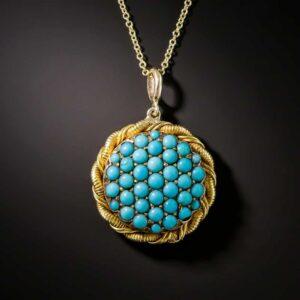 Victorian Turquoise Pendant/Locket with Plain Loop Bail.