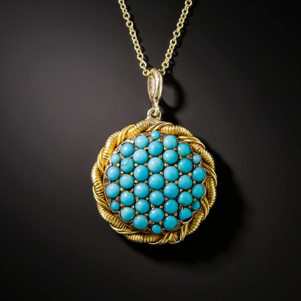 Victorian Turquoise Pendant/Locket with Plain Loop Bail.