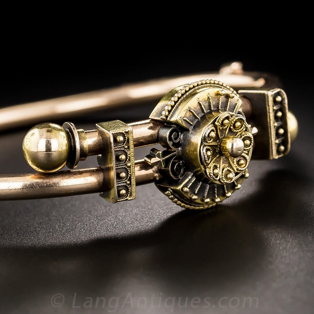 Etruscan Revival Two Tone Gold Bracelet with Warm Patina.