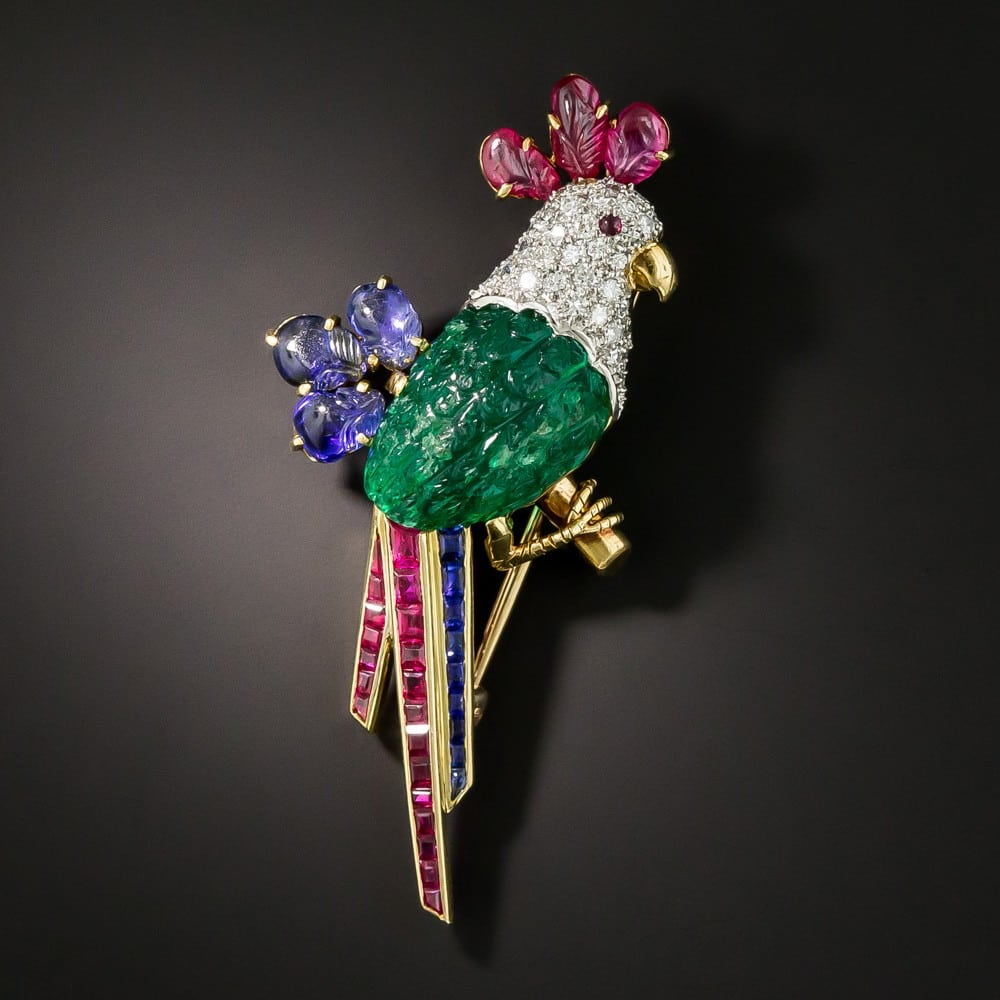 Vintage Diamond, Emerald, Ruby, and Sapphire Parrot Brooch, c.Mid-20th-Century.
