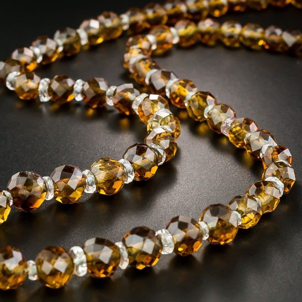 Faceted Citrine Bead and Quartz Rondelle Necklace.
