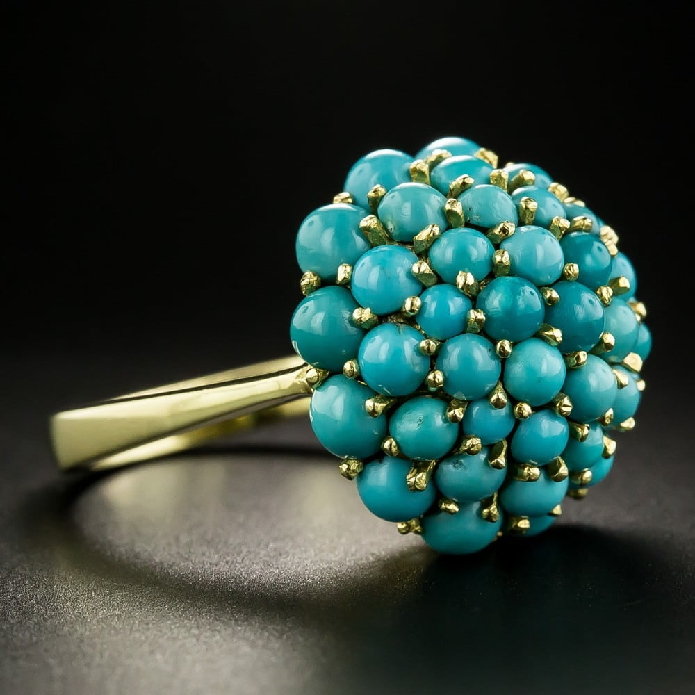 Vintage Turquoise Cluster Ring, c.Mid-20th-Century.