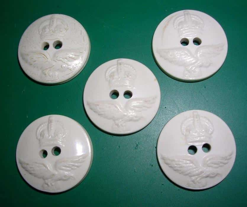 White Casein Australian Royal Air Force Buttons.