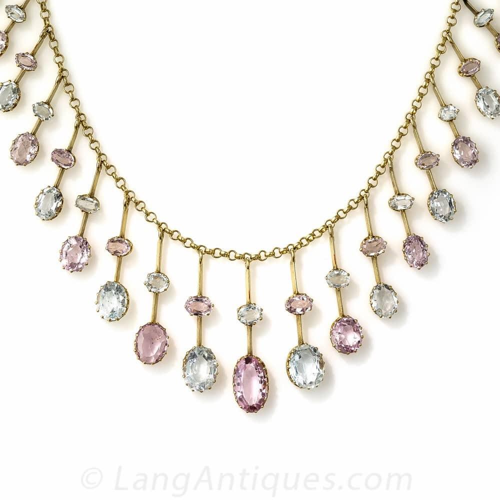 Antique Pink Topaz and Aquamarine Fringe Necklace.