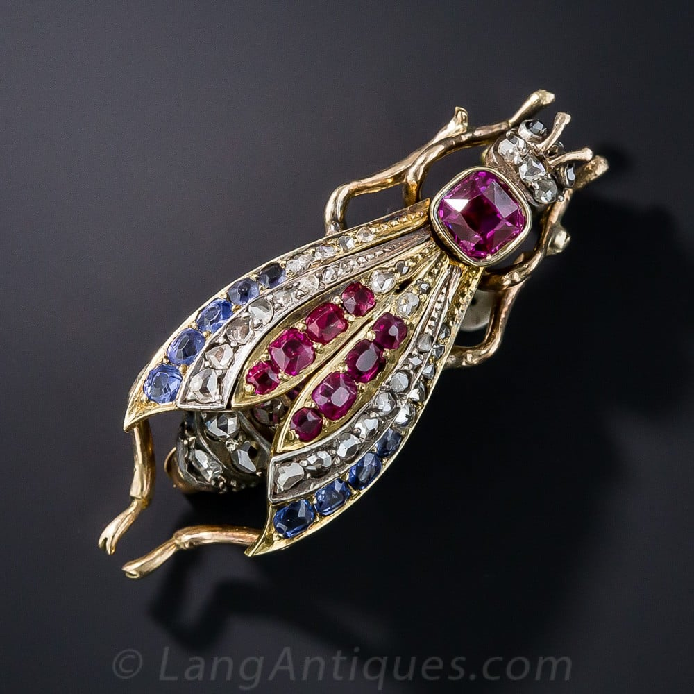 Estate Antique Ruby, Sapphire, and Diamond Wasp Brooch.