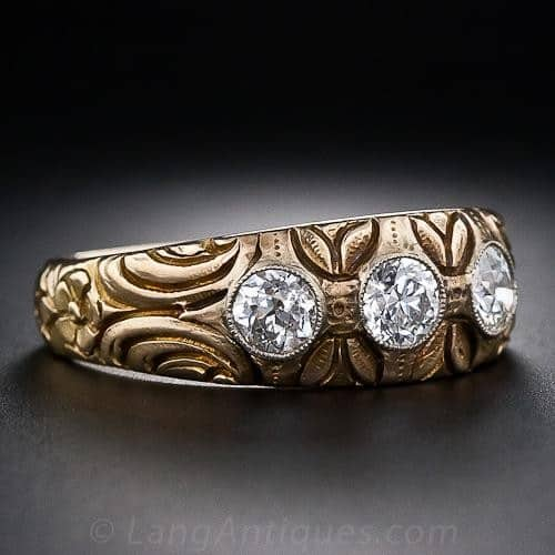 Art Nouveau Hand Carved Diamond and Gold Gypsy Ring.