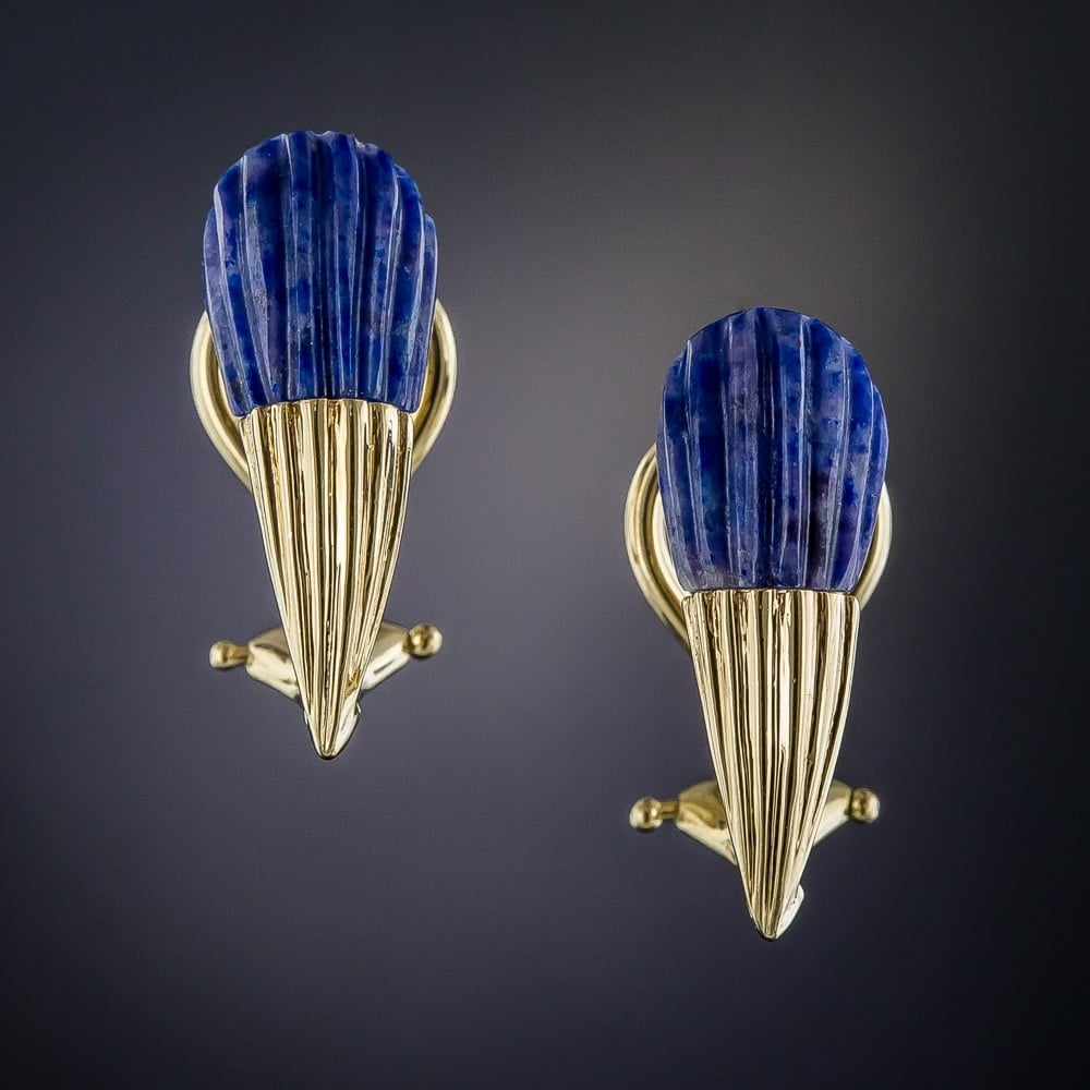 Carved Fluted Lapis Lazuli in Fluted Gold Earrings.