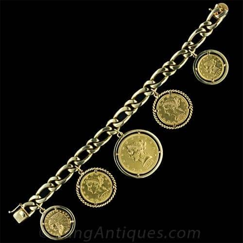Figaro Chain Charm Bracelet with Coin Charms.