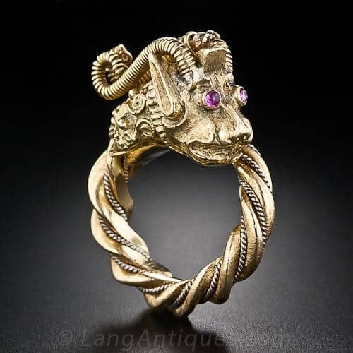 Handmade Gold Dragon Ring with Ruby Eyes.