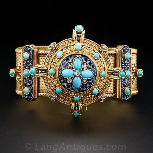 Turquoise, Diamond, and Grisaille Enamel Bracelet.
