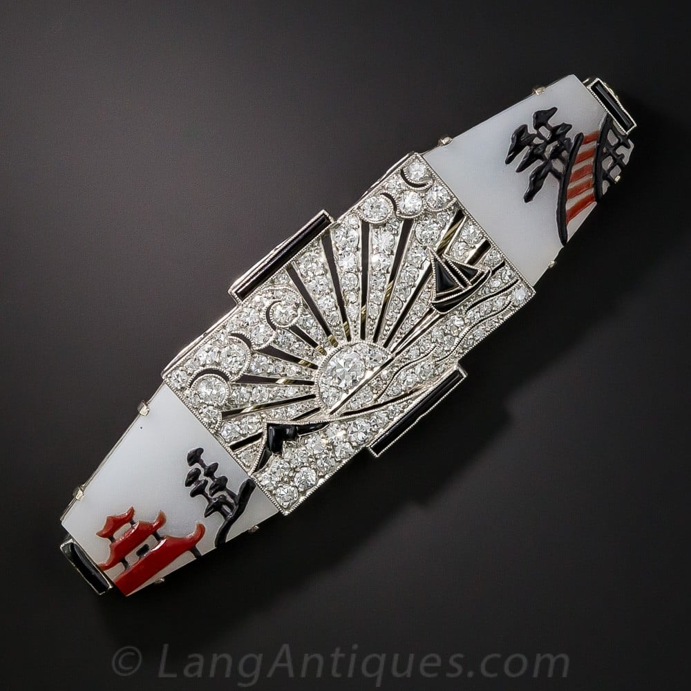 French, Art Deco Japanesque Mother-of-Pearl Backed Glass with Diamonds, Onyx, and Enamel.