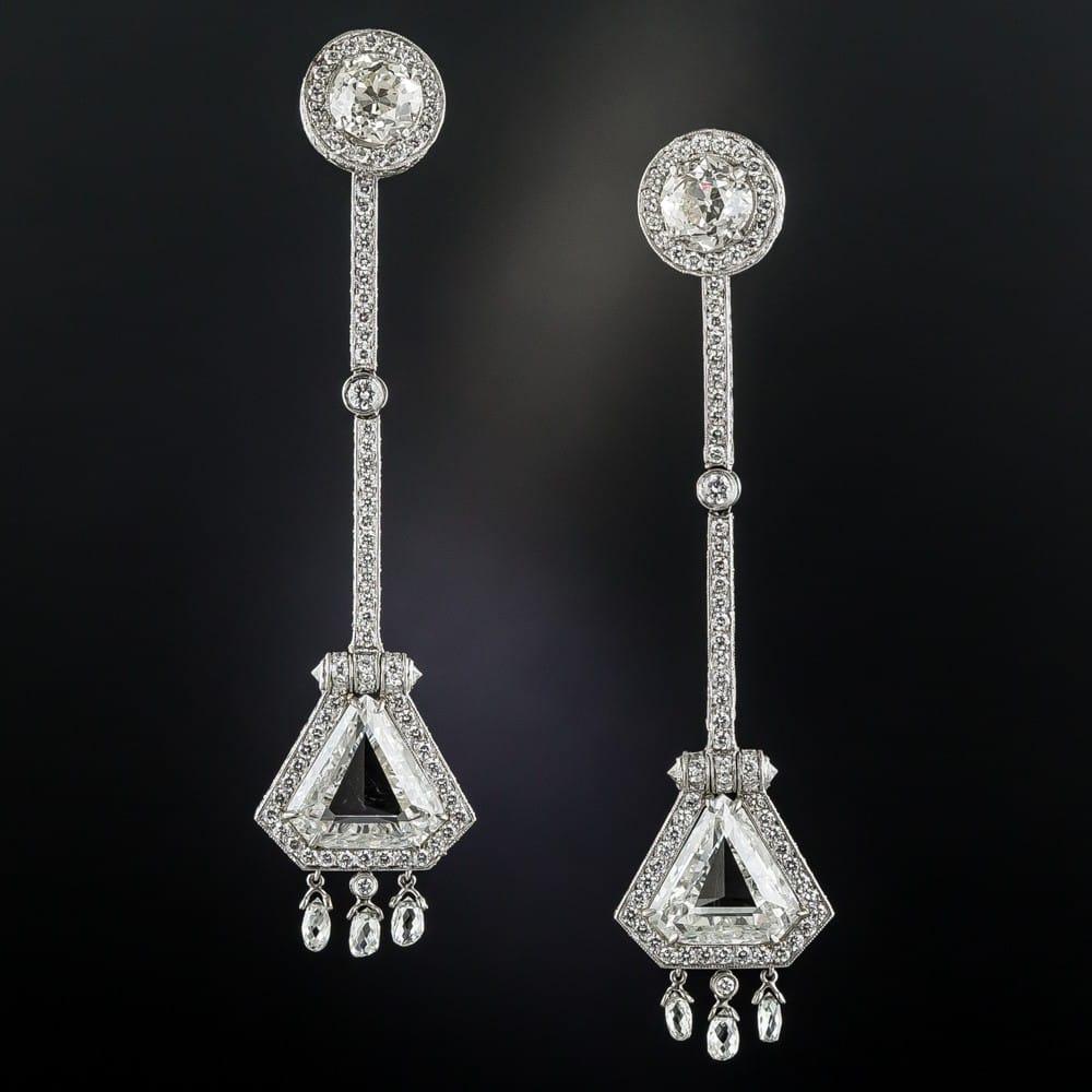 Shield-Shaped Diamond Earrings.