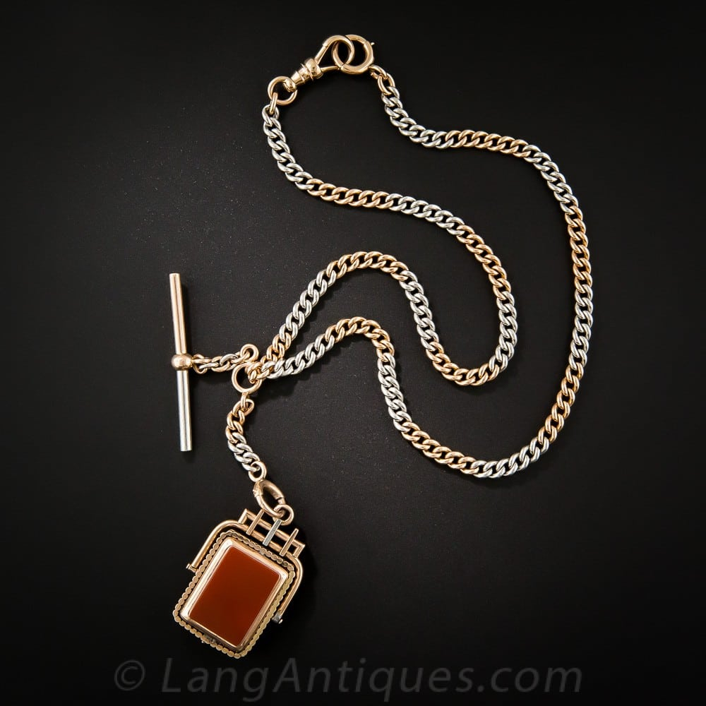 Platinum and Rose Gold Fob Chain and Locket Fob.