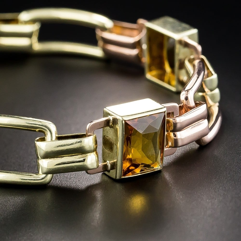Estate Retro Citrine and Bi-Color Gold Bracelet.