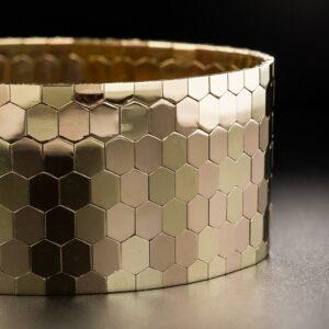 Retro Bi-Color Gold Honeycomb Bracelet.