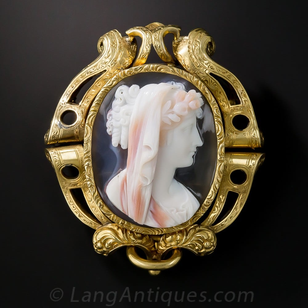 Hardstone Cameo Brooch made in Sweden.