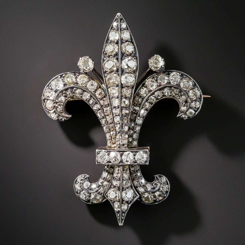 Victorian Diamond Fleur-de-Lis Pendant/Brooch.