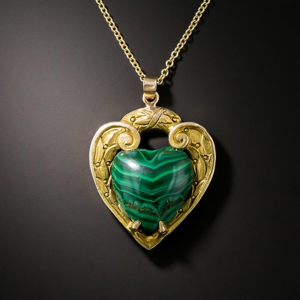 Vintage Malachite Heart Pendant.