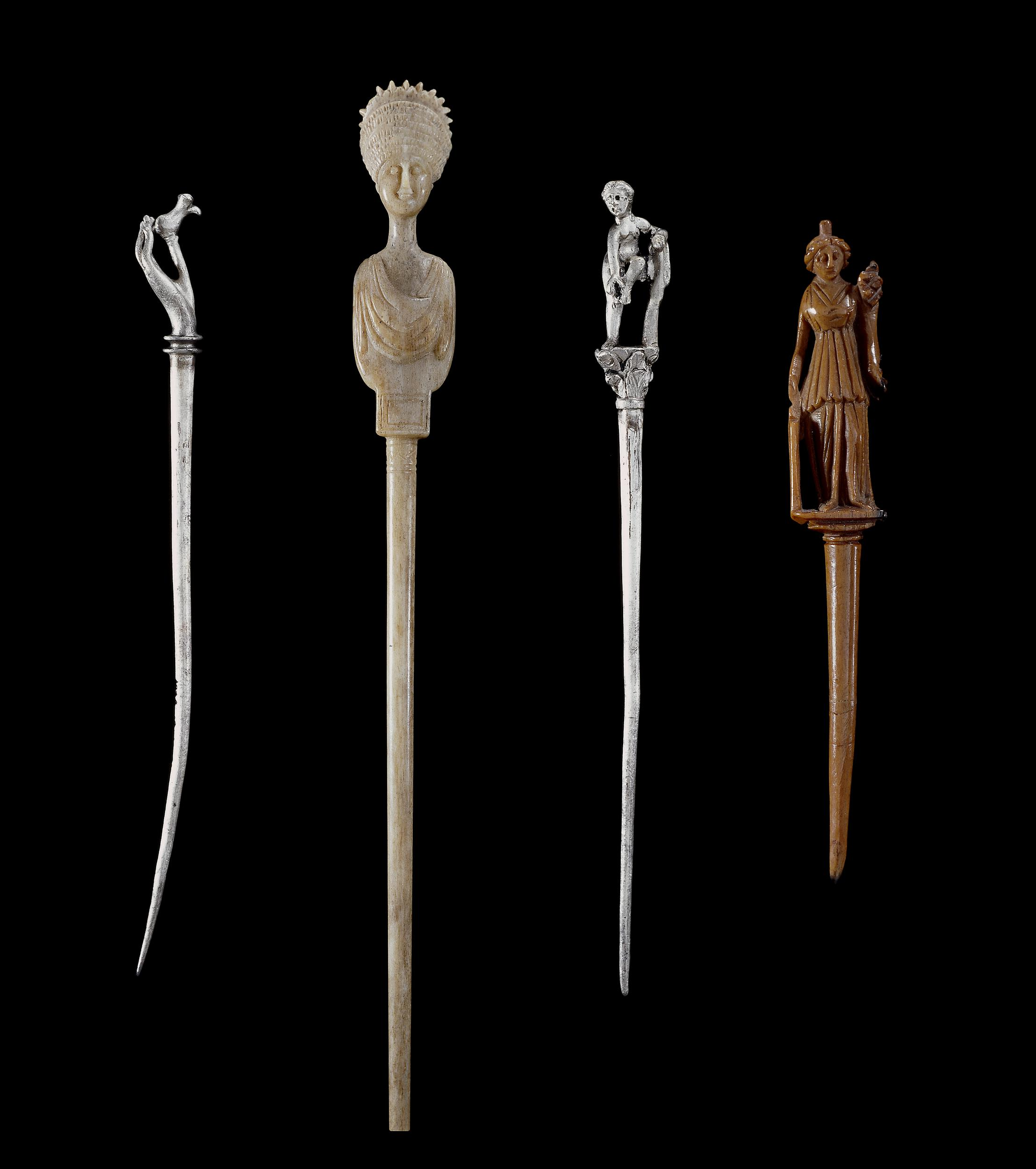 Collection of Romano-British Era Bone and Silver Hairpins (Acus Crinalis). © The Trustees of the British Museum