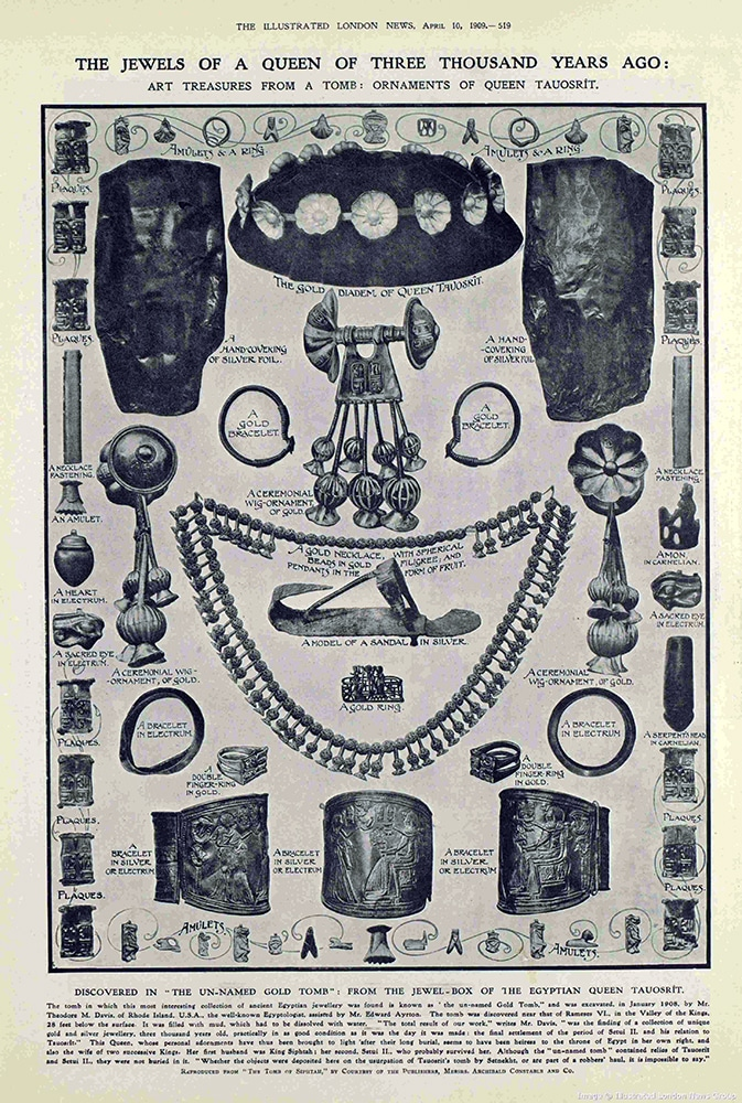 The Jewels of a Queen of Three Thousand Years Ago. The Illustrated London News, April 10, 1909.