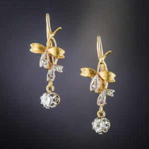 Art Nouveau Diamond Earrings.