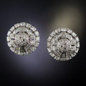 Art Deco Diamond Dome Earrings.