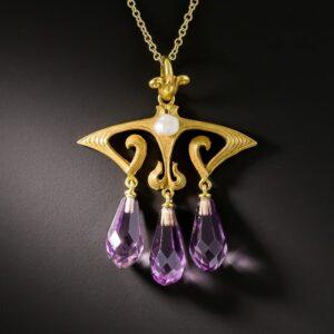 Art Nouveau Amethyst Necklace.