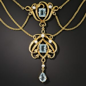 Art Nouveau Aquamarine and Pearl Necklace.