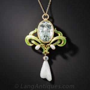 Art Nouveau Aquamarine, Freshwater Pearl, and Enamel Necklace, Bippart.